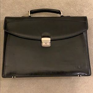 Pelle black leather briefcase/laptop bag